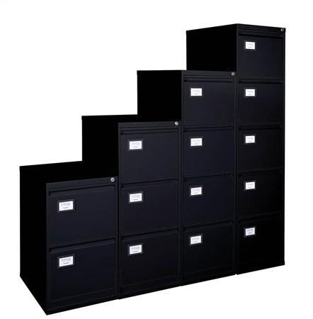 VICTORIA Függőmappatároló fémszekrény, 4 fiókos, VICTORIA, fekete