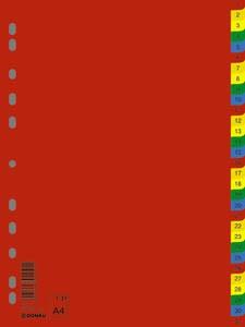 DONAU Regiszter, műanyag, A4, 1-31, DONAU, színes