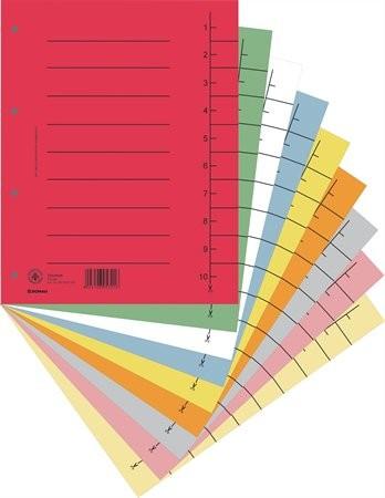 DONAU Regiszter, karton, A4, DONAU, vegyes színek