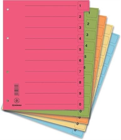 DONAU Regiszter, karton, A4, mikroperforált, DONAU, vegyes színek