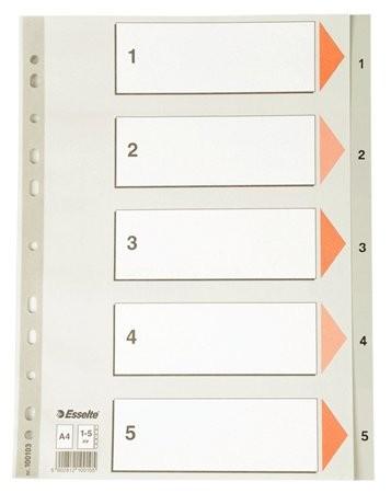 ESSELTE Regiszter, műanyag, A4, 1-5, ESSELTE, szürke