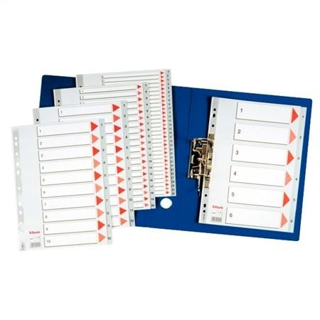 ESSELTE Regiszter, műanyag, A4, 1-6, ESSELTE, szürke