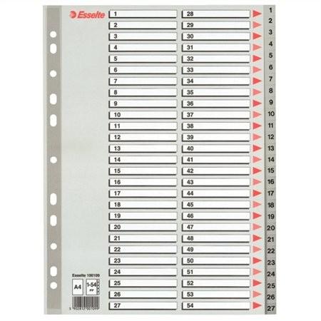 ESSELTE Regiszter, műanyag, A4, 1-54, ESSELTE, szürke