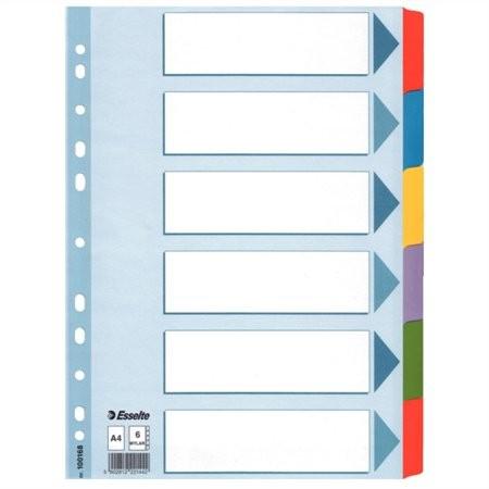 """ESSELTE Regiszter, laminált karton, A4, 6 részes, ESSELTE """"Mylar"""", színes"""