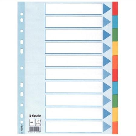"""ESSELTE Regiszter, karton, A4, 10 részes, írható előlappal, ESSELTE """"Standard"""", színes"""