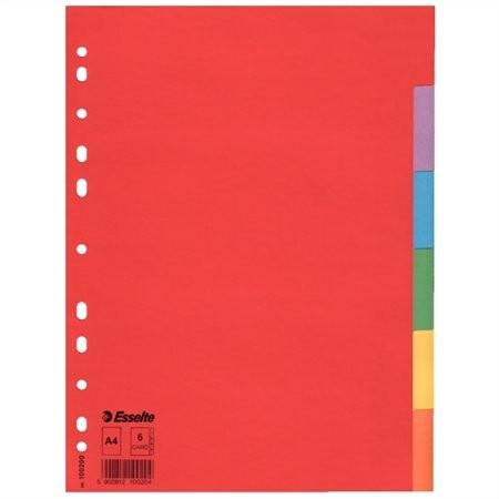 """ESSELTE Regiszter, karton, A4, 6 részes, ESSELTE """"Economy"""", színes"""