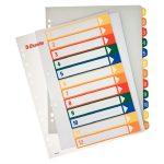 ESSELTE Regiszter, műanyag, A4 Maxi, 1-12, nyomtatható, ESSELTE, áttetsző