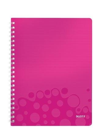 """LEITZ Spirálfüzet, A4, kockás, 80 lap, LEITZ """"Wow"""", rózsaszín"""