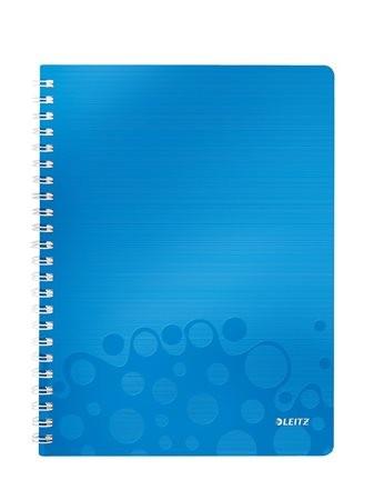 """LEITZ Spirálfüzet, A4, kockás, 80 lap, LEITZ """"Wow"""", kék"""