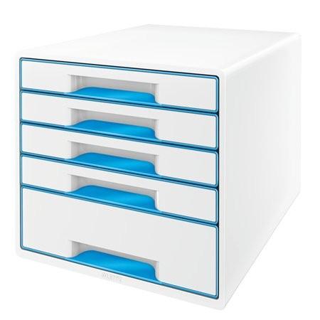 """LEITZ Irattároló, műanyag, 5 fiókos, LEITZ """"Wow Cube"""", fehér/kék"""