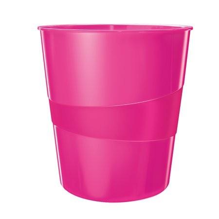 """LEITZ Papírkosár, 15 liter, LEITZ """"Wow"""", metál rózsaszín"""
