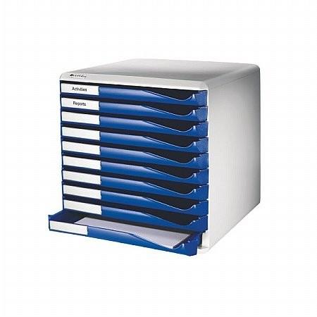 """LEITZ Irattároló, műanyag, 10 fiókos, LEITZ """"Standard"""", kék"""