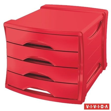 "ESSELTE Irattároló, műanyag, 4 fiókos, ESSELTE ""Europost"", Vivida piros"