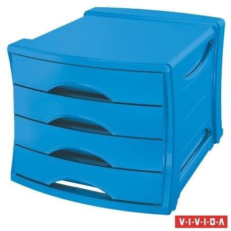 """ESSELTE Irattároló, műanyag, 4 fiókos, ESSELTE """"Europost"""", Vivida kék"""