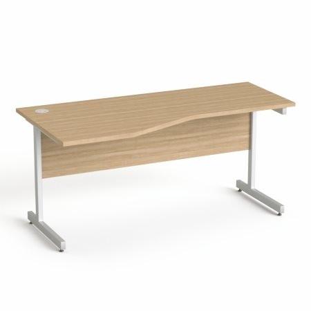 """MAYAH Íróasztal, íves, balos,  szürke fémlábbal, 160x80 cm, MAYAH """"Freedom SV-30"""", kőris"""