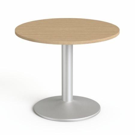 """MAYAH Tárgyalóasztal, kör, szürke fémlábbal, O 90 cm, MAYAH """"Freedom SV-58"""", kőris"""