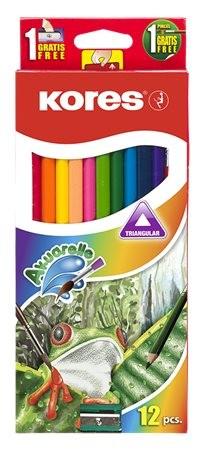 KORES Akvarell ceruza készlet, hegyezővel, ecsettel, KORES, 12 különböző szín