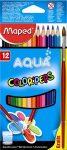 """MAPED Akvarell ceruza készlet, háromszögletű, ecsettel, MAPED """"Color'Peps"""", 12 különböző szín"""