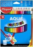 """MAPED Akvarell ceruza készlet, háromszögletű, ecsettel, MAPED """"Color Peps"""", 18 különböző szín"""