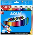 """MAPED Akvarell ceruza készlet, háromszögletű, ecsettel, MAPED """"Color Peps"""", 24 különböző szín"""