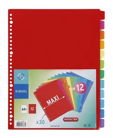 VIQUEL Regiszter, műanyag, A4 Maxi, 12 részes, VIQUEL