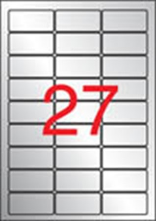 APLI Etikett, 63,5x29,6 mm, poliészter, időjárásálló, kerekített sarkú, APLI, ezüst, 540 etikett/csomag