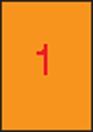 APLI Etikett, 210x297 mm, színes, APLI, neon narancs, 100 etikett/csomag
