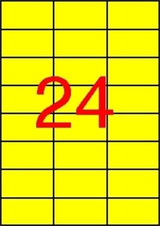 APLI Etikett, 70x37 mm, színes, APLI, sárga, 2400 etikett/csomag
