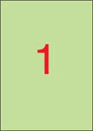 APLI Etikett, 210x297 mm, színes, APLI, pasztell zöld, 20 etikett/csomag