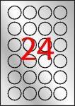 APLI Etikett, 40 mm kör, poliészter, időjárásálló, APLI, ezüst, 480 etikett/csomag
