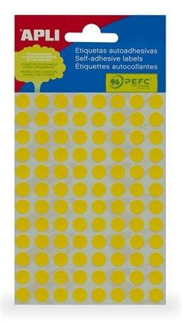 APLI Etikett, 8 mm kör, kézzel írható, színes, APLI, sárga, 288 etikett/csomag