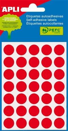 APLI Etikett, 13 mm kör, kézzel írható, színes, APLI, piros, 175 etikett/csomag