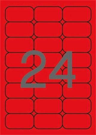 APLI Etikett, 64x33,9 mm, színes, kerekített sarkú, APLI, neon piros, 480 etikett/csomag