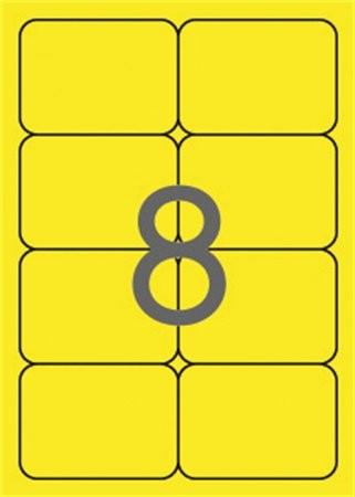 APLI Etikett, 99,1x67,7 mm, színes, kerekített sarkú, APLI, neon sárga, 160 etikett/csomag