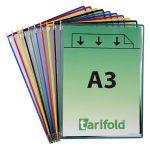 TARIFOLD Bemutatótábla, A3, acélkeretes, álló, TARIFOLD, vegyes színek
