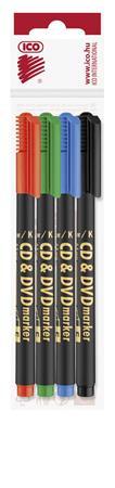 Alkoholos marker készlet, CD/DVD, 0,5 mm, ICO, 4 különböző szín