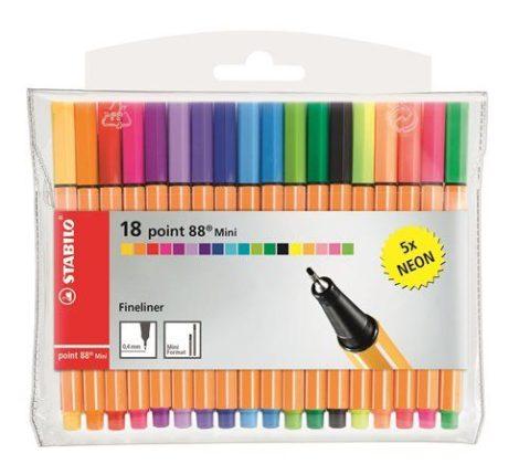 """STABILO Tűfilc készlet, 0,4 mm, STABILO """"Point 88 Mini Neon"""", 18 különböző szín"""