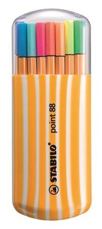 """STABILO Tűfilc készlet, 0,4 mm, STABILO """"Point 88 Zebrui"""", 15+5 különböző szín"""