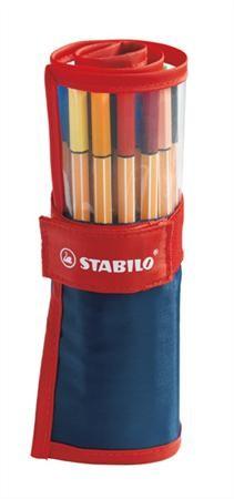 """STABILO Tűfilc készlet, 0,4 mm, felcsavarható szett, STABILO """"Point 88"""", 25 különböző szín"""