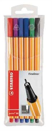 """STABILO Tűfilc készlet, 0,4 mm, STABILO """"Point 88"""", 6 különböző szín"""