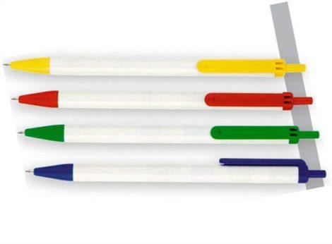 VICTORIA Golyóstoll, 0,7 mm, nyomógombos, kék-fehér tolltest, VICTORIA, kék