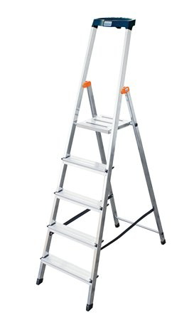 "KRAUSE Állólétra, 5 lépcsőfokos, alumínium, KRAUSE ""Safety"""