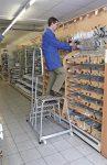 KRAUSE Szerelődobogó, 4 lépcsőfokos, alumínium, gurítható, KRAUSE