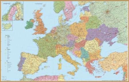 Európa autótérképe keretezett falitérkép