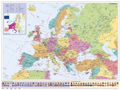 Falitérkép, 70x100 cm, fémléces, Európa országai és az Európai Unió