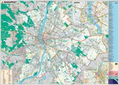 Falitérkép, 100x140 cm, fémléces, Budapest térképe és utcajegyzéke, STIEFEL