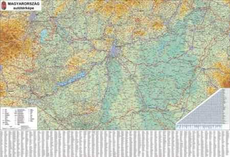 Magyarország autóstérképe fémléces falitérkép
